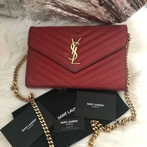 ad46a6fed4 Saint Laurent Matelasse Monogram YSL Wallet Chain
